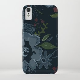 Moody Blues Floral Pattern iPhone Case