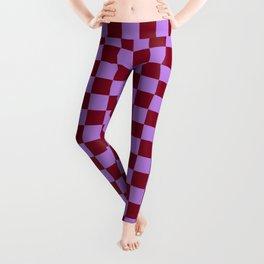 Lavender Violet and Burgundy Red Checkerboard Leggings