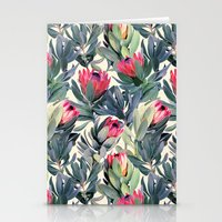paint Stationery Cards featuring Painted Protea Pattern by micklyn