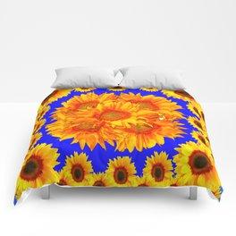 Royal Blue Golden Sunflowers Garden Art Comforters