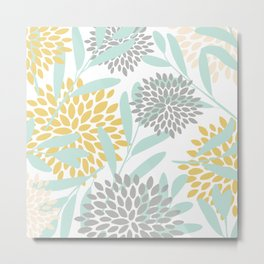 Floral Prints, Leaves and Blooms, Yellow, Gray and Aqua Metal Print