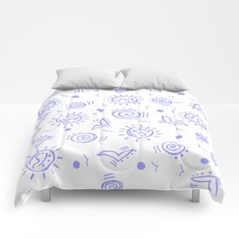Periwinkle Pattern of Seagulls Suns and Shells Comforters