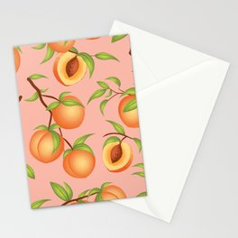 Practice What You Peach - Peaches on Pink Stationery Cards
