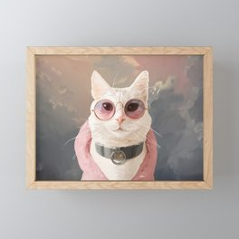 Fashion Portrait Cat Framed Mini Art Print