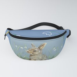 Spring Rabbit & Happy Easter quote Fanny Pack