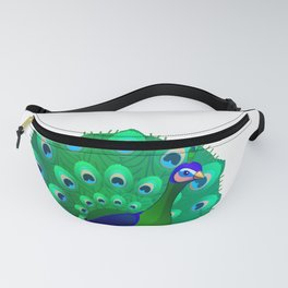 Peacock bird. Vector graphic character Fanny Pack