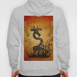 Funny steampunk giraffe with hat Hoody