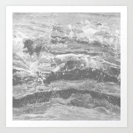 Real Gray Marble Art Print