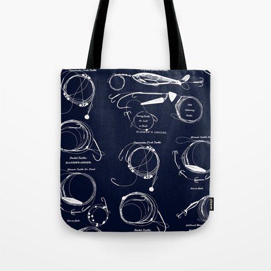 Maritime pattern- white fishing gear on darkblue backround Tote Bag