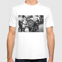 Motorcycle MEDIUM White Mens Fitted Tee