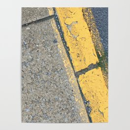 Blue Water Yellow Line Poster