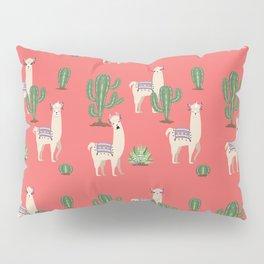 Llama with Cacti Pillow Sham