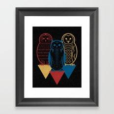 Three Owls at Night Framed Art Print