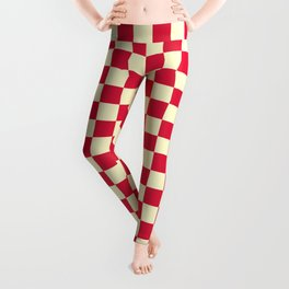 Cream Yellow and Crimson Red Checkerboard Leggings