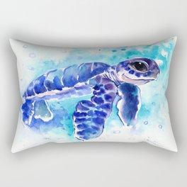 Blue Hawaiian Sea Turtle, Turquoise Blue Cute Animal Sea world Art Rectangular Pillow