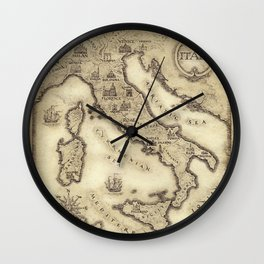 Vintage map of Italy Wall Clock
