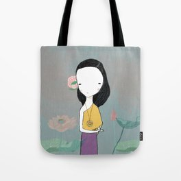 Girl with water lilies Tote Bag