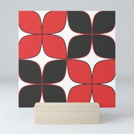 70's Flower Pattern Black Red Mini Art Print