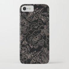 Pink coral tan black floral illustration pattern iPhone 7 Slim Case