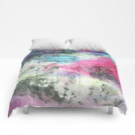Grunge magenta teal hand painted watercolor Comforters