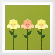 Kawaii Rose Friends  Art Print