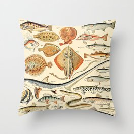 Vintage Fishing Diagram // Poissons by Adolphe Millot XL 19th Century Science Textbook Artwork Throw Pillow