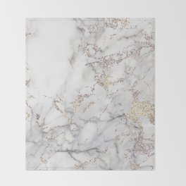 Champagne Rose Gold Blush Metallic Glitter Foil On Gray Marble Throw Blanket