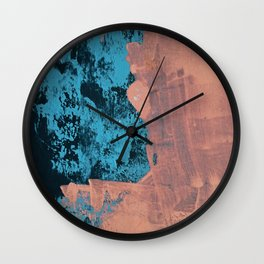 Delight [4] in pink: a pretty minimal abstract piece in blues and pink by Alyssa Hamilton Art Wall Clock