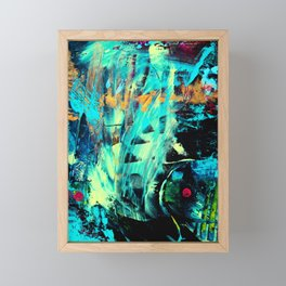 Undaunted A - Abstract in Black and Blue Framed Mini Art Print