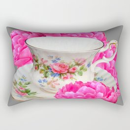 FLORAL TEA CUP & PEONY FLOWERS YELLOW ART Rectangular Pillow