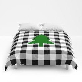 Christmas Tree - black buffalo check Comforters