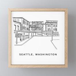 Seattle Pike Place Sketch Framed Mini Art Print