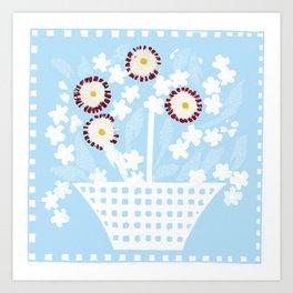 Mixed flowers basket Art Print