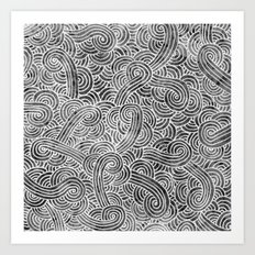Grey and white swirls doodles Art Print