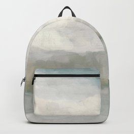 Modern Abstract Painting, Light Teal, Sage Green, Gray Cloudy Weather Digital Prints Wall Art, Ocean Backpack