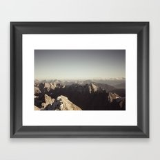 Zugspitze Mountain Germany Black and White Photography Framed Art Print