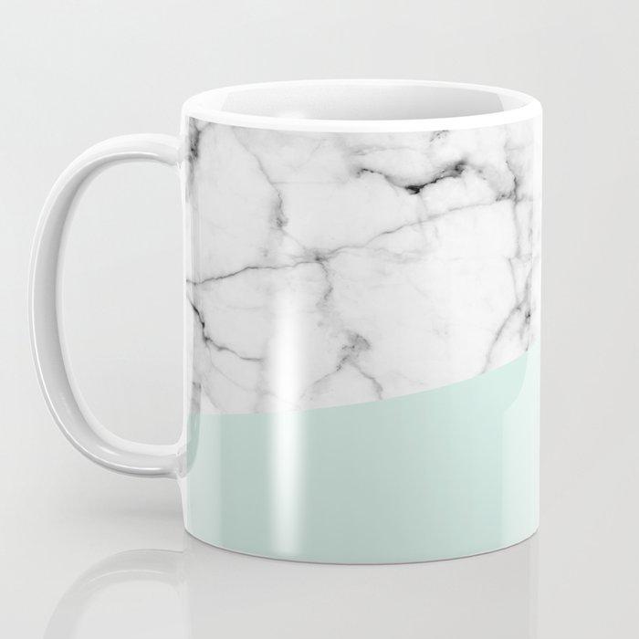 Real White marble Half pastel Mint Green Coffee Mug
