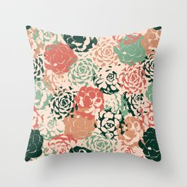 Stamped Succulents Throw Pillow