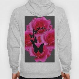 BLACK BUTTERFLIES FUCHSIA ROSES GREY ART Hoody