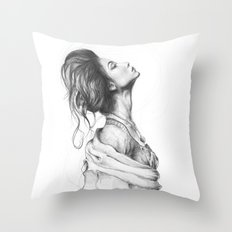 Pretty Lady Illustration Woman Portrait Beauty Throw Pillow