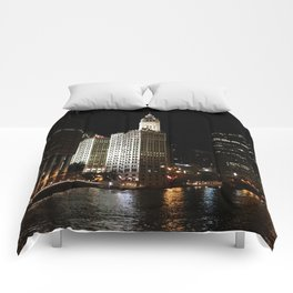 Wrigley Building and Chicago River at Night Color Photo Comforters