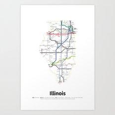 Highways of the USA – Illinois Art Print