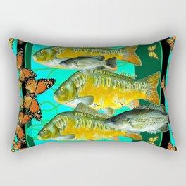 MONARCH BUTTERFLIES OCHER  FISH TURQUOISE BLUE ART Rectangular Pillow