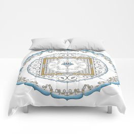 Honeycomb Mandala in Blue and Gold Comforters