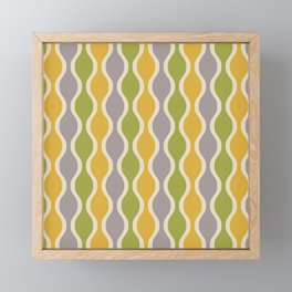 Classic Retro Ogee Pattern 847 Yellow Gray and Green Framed Mini Art Print