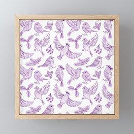 Winter Birds and Foliage Pattern (Purple) Framed Mini Art Print