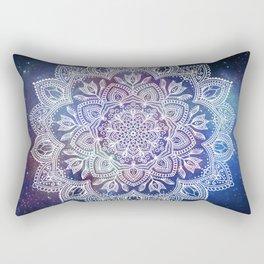 Boho Mandala - White on Galaxy Rectangular Pillow