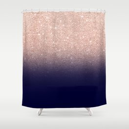 Modern faux rose gold glitter ombre gradient on navy blue Shower Curtain