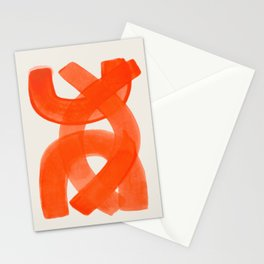 Mid Century Modern Abstract Painting Orange Watercolor Brush Strokes Stationery Cards