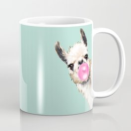 Bubble Gum Sneaky Llama in Green Coffee Mug